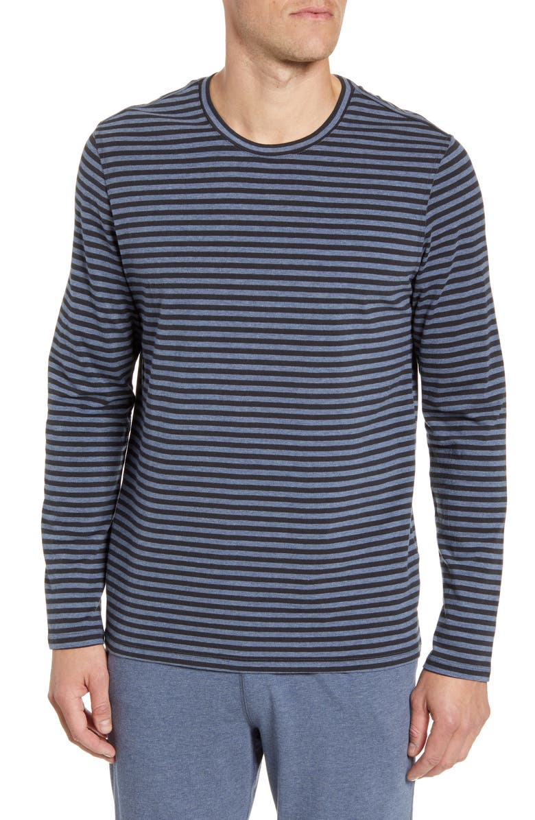 DANIEL BUCHLER Stripe Stretchy Cotton & Modal Long Sleeve Crewneck T-Shirt, Main, color, 479