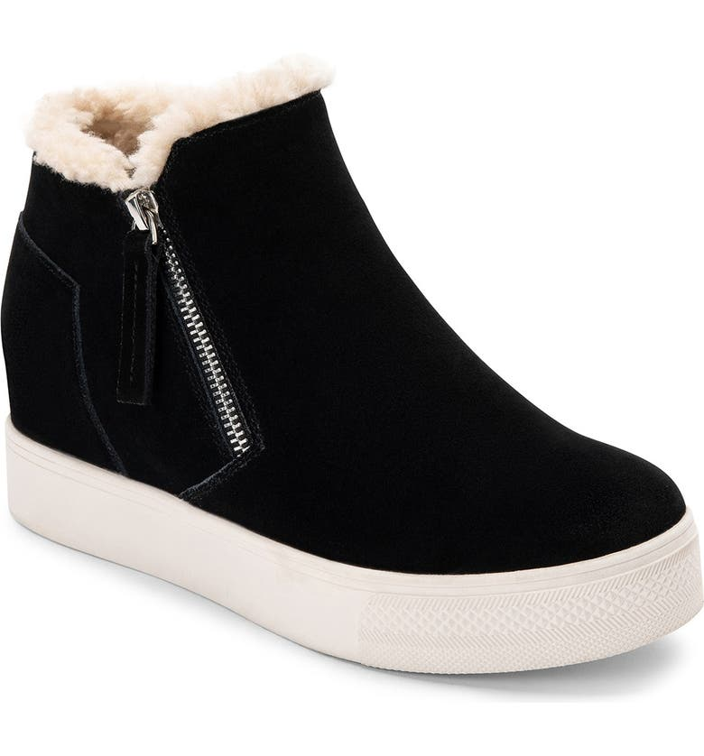 DOLCE VITA Wolfe Faux Shearling Wedge Sneaker, Main, color, BLACK SUEDE