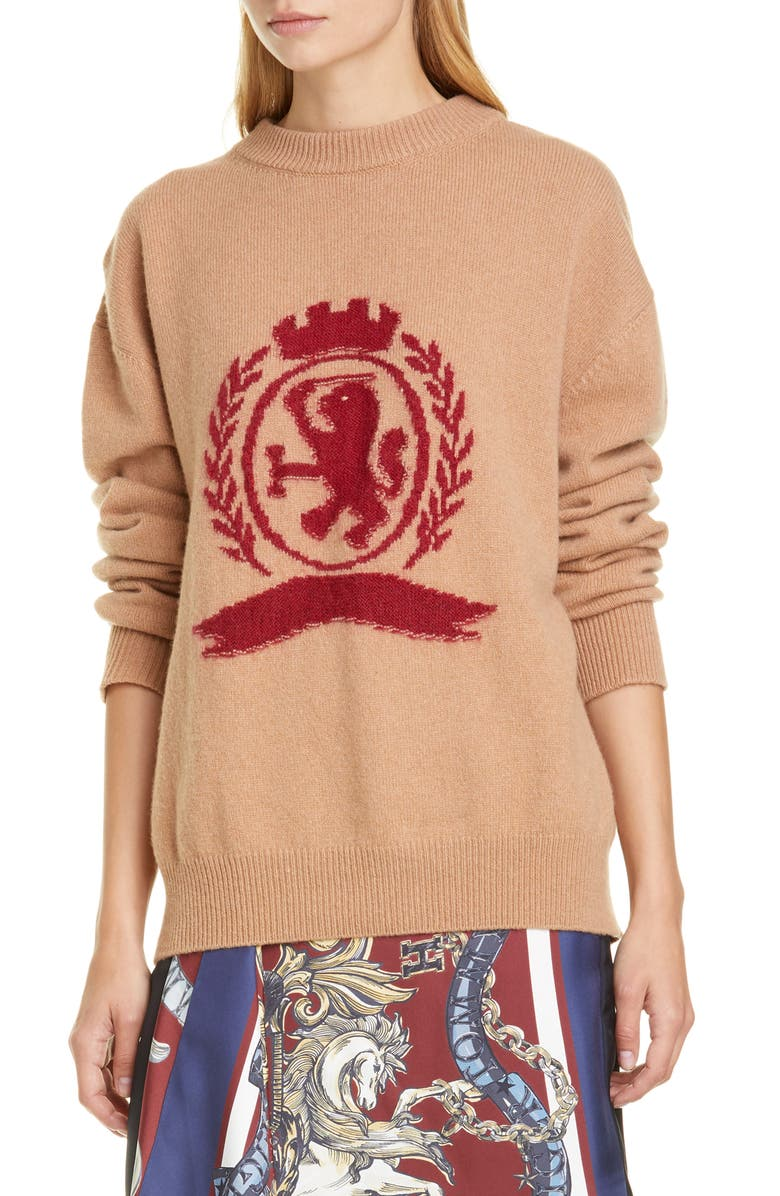 HILFIGER COLLECTION Needle Punch Crest Wool & Cashmere Sweater, Main, color, 200
