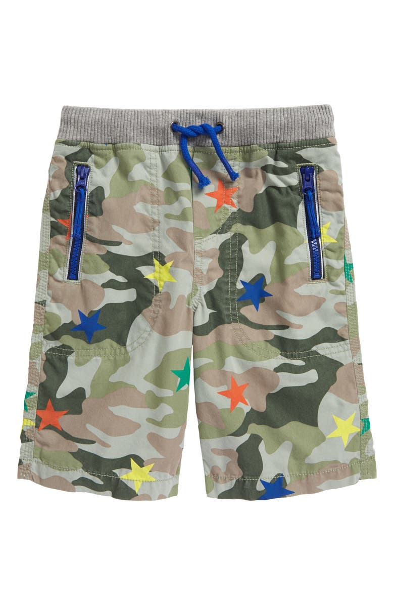 MINI BODEN Kids' Adventure Shorts, Main, color, GREEN STAR CAMOUFLAGE