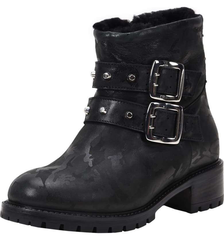 ROSS & SNOW Stefana SP Genuine Shearling Lined Weatherproof Bootie, Main, color, BLACK CAMO LEATHER