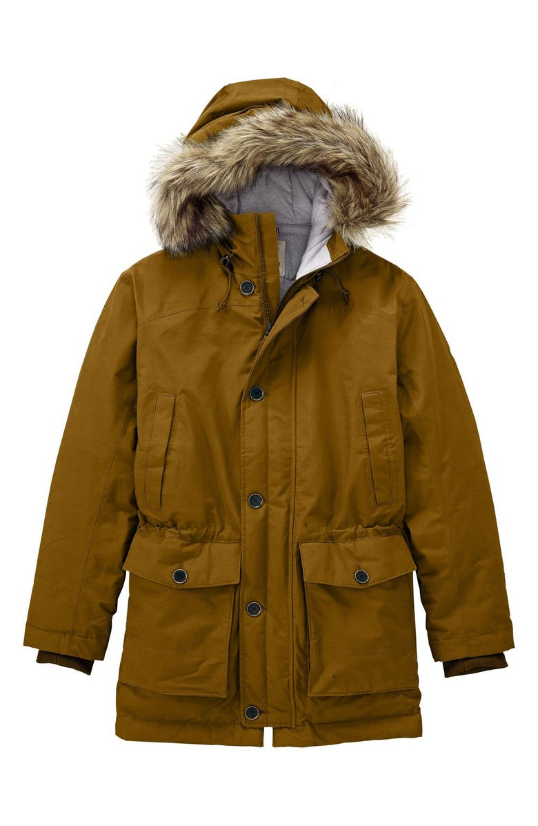 TIMBERLAND 'Scar Ridge' HyVent<sup>®</sup> Waterproof Hooded Down Parka with Faux Fur Trim, Main, color, 210
