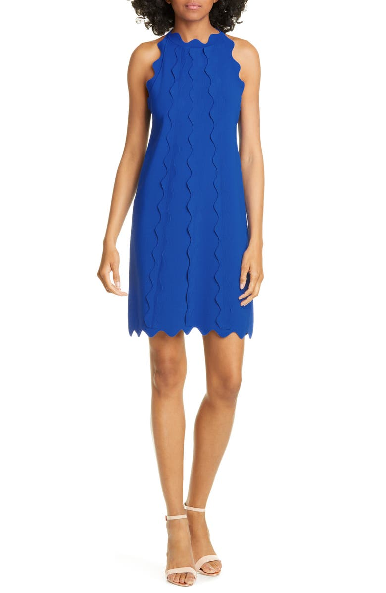 TED BAKER LONDON Rickrack Trim Knit Shift Dress, Main, color, 421