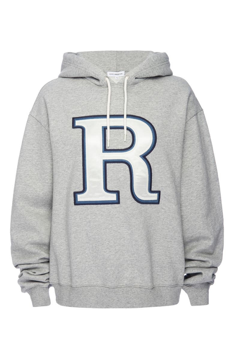 GOOD AMERICAN Initial Oversize Hoodie, Main, color, R - HEATHER GREY