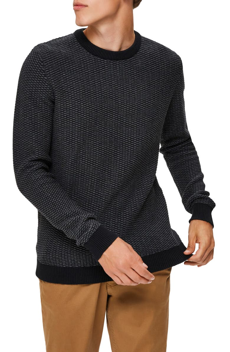 SELECTED HOMME Aiden Crewneck Sweater, Main, color, MEDIUM GREY MELANGE