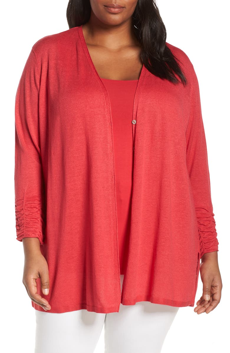NIC+ZOE Ruched Sleeve Linen Blend Cardigan, Main, color, 600
