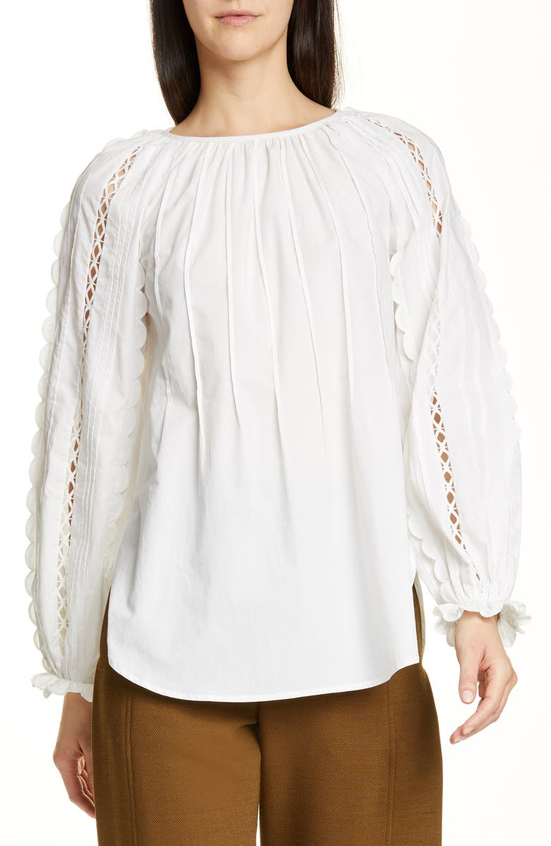 SEE BY CHLOÉ Scalloped Open Trim Top, Main, color, 101