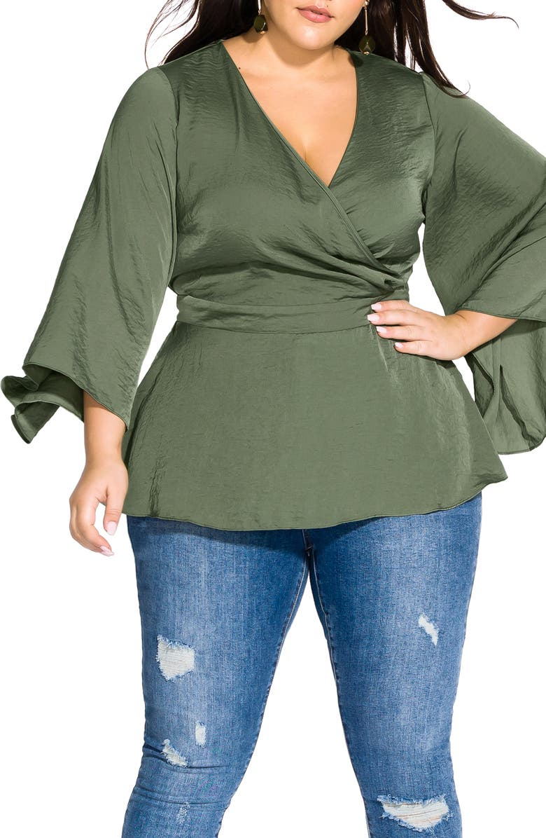 CITY CHIC Bell Sleeve Faux Wrap Top, Main, color, 303