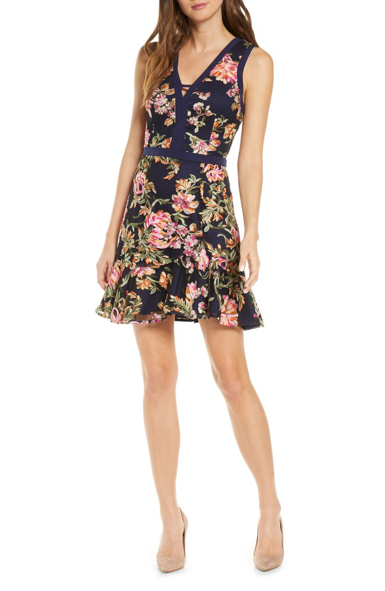 ADELYN RAE Kaylea Sleeveless Embroidered Minidress, Main, color, NAVY MULTI