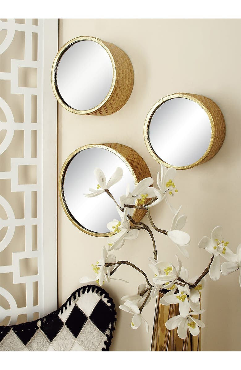 COSMO BY COSMOPOLITAN Gold Glam Round Wall Mirror - Set of 7, Main, color, GOLD