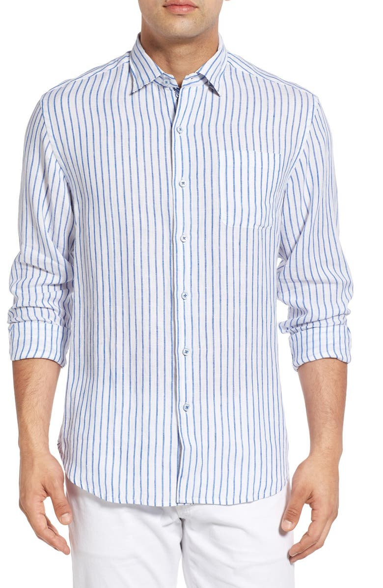 TOMMY BAHAMA 'Aloha Cove' Classic Fit Stripe Linen Sport Shirt, Main, color, 100