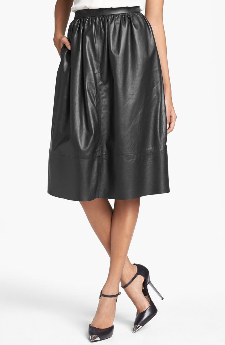 THEORY 'Gelsey Prud' Leather Skirt, Main, color, Black