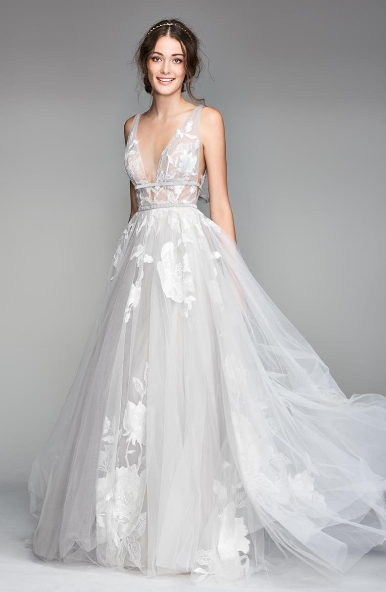 WILLOWBY Galatea Embroidered V-Neck Tulle Wedding Dress, Main, color, TITANIUM