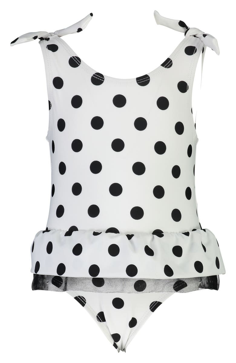 SNAPPER ROCK Skirted Polka Dot One-Piece Swimsuit, Main, color, WHITE/ BLACK DOT