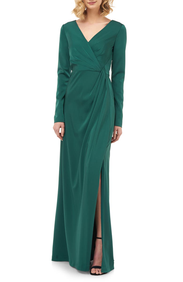 KAY UNGER Adelina Long Sleeve Evening Gown, Main, color, 300