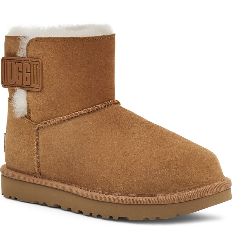 UGG<SUP>®</SUP> Mini Bailey Logo Strap Boot, Main, color, CHESTNUT SUEDE