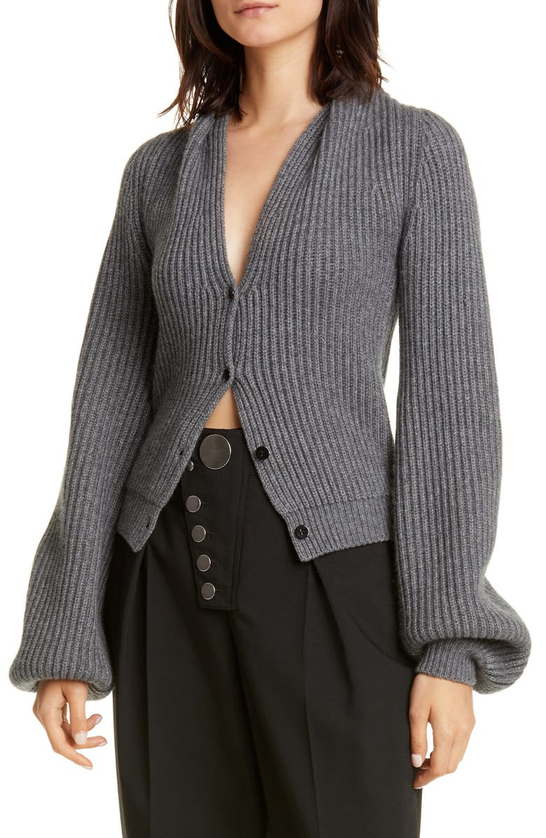 ALEXANDER WANG Ribbed Wool & Cashmere Blend Cardigan, Main, color, 020