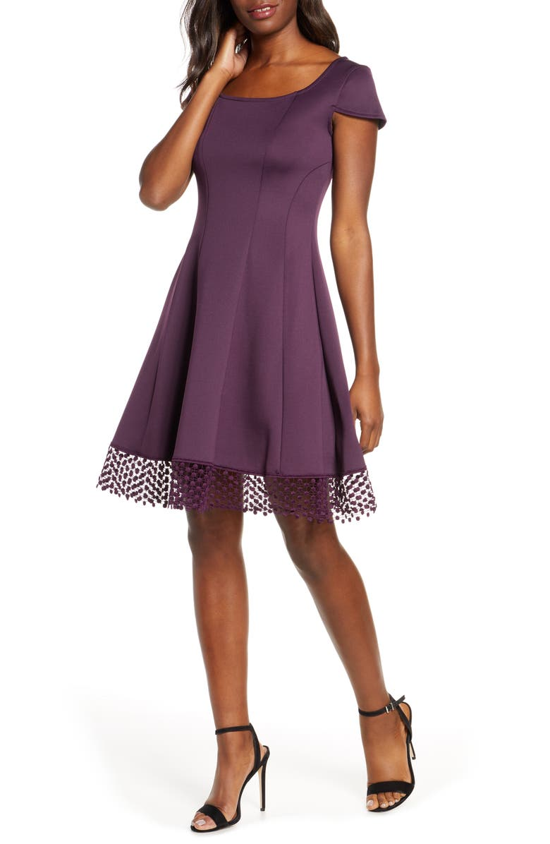 DONNA RICCO Lace Trim Fit & Flare Dress, Main, color, 542