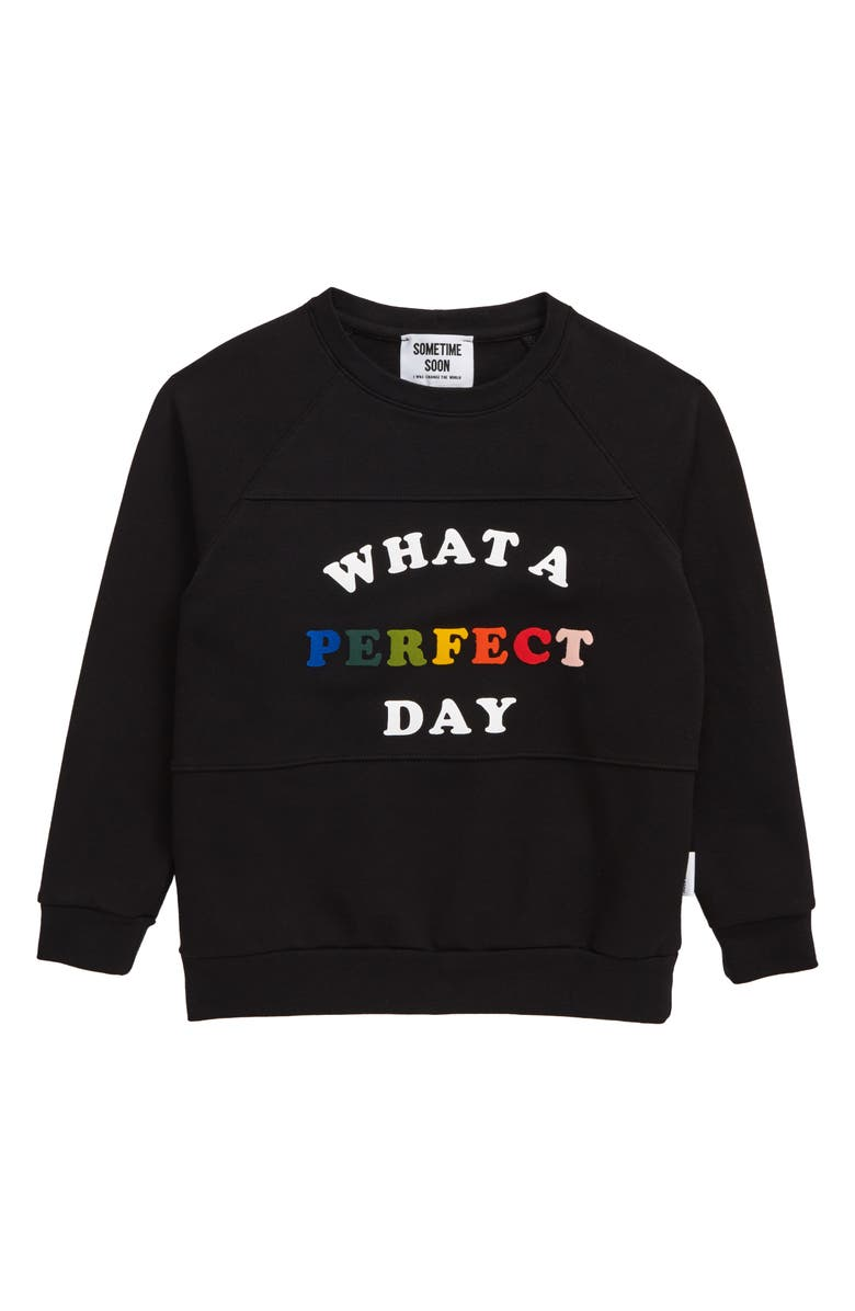 SOMETIME SOON Perfect Day Graphic Stretch Organic Cotton Sweatshirt, Main, color, 001