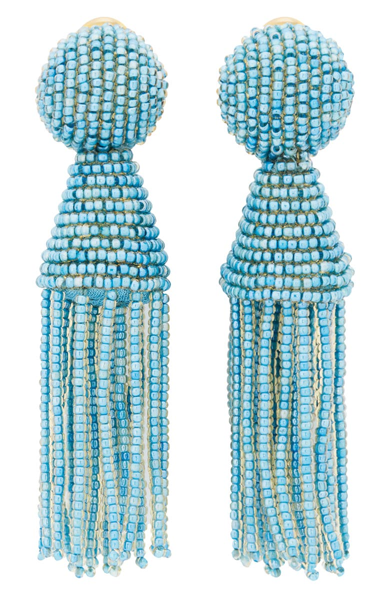 OSCAR DE LA RENTA Short Beaded Tassel Drop Earrings, Main, color, FRENCH BLUE