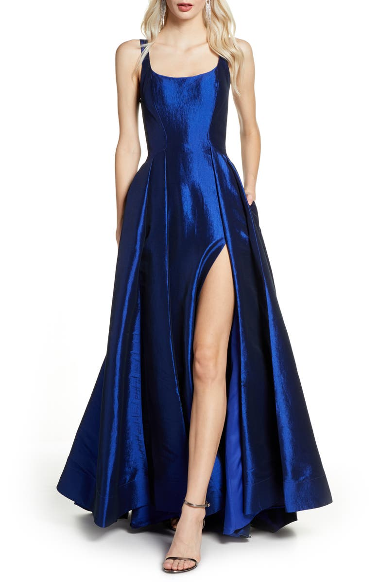 MAC DUGGAL Front Slit Ballgown with Train, Main, color, SAPPHIRE