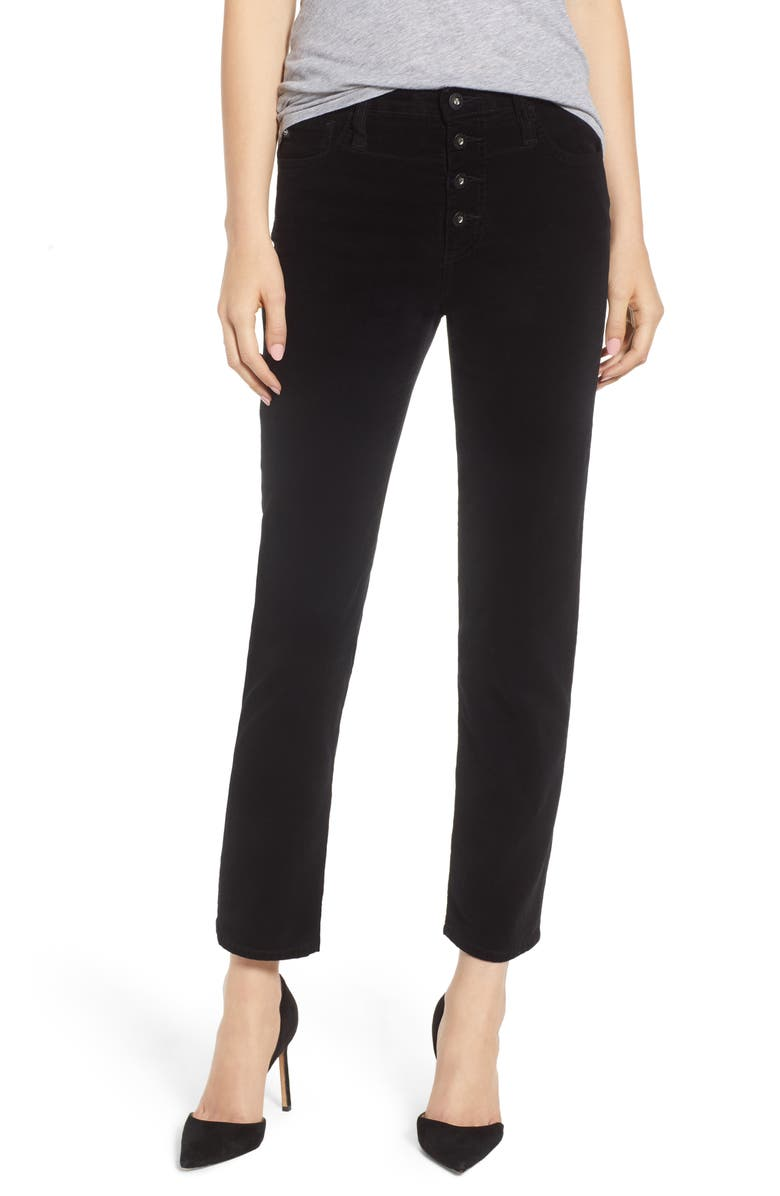 AG The Isabelle Button High Waist Ankle Straight Leg Jeans, Main, color, 010
