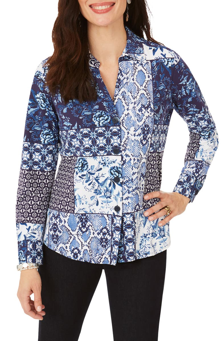 FOXCROFT Paityn Mixed Print Jersey Top, Main, color, MULTI