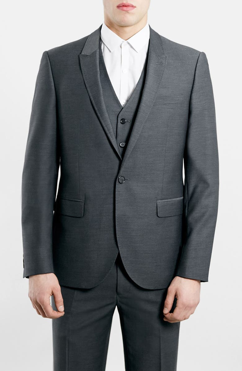 TOPMAN Slim Fit Grey Diamond Texture Suit Jacket, Main, color, 020