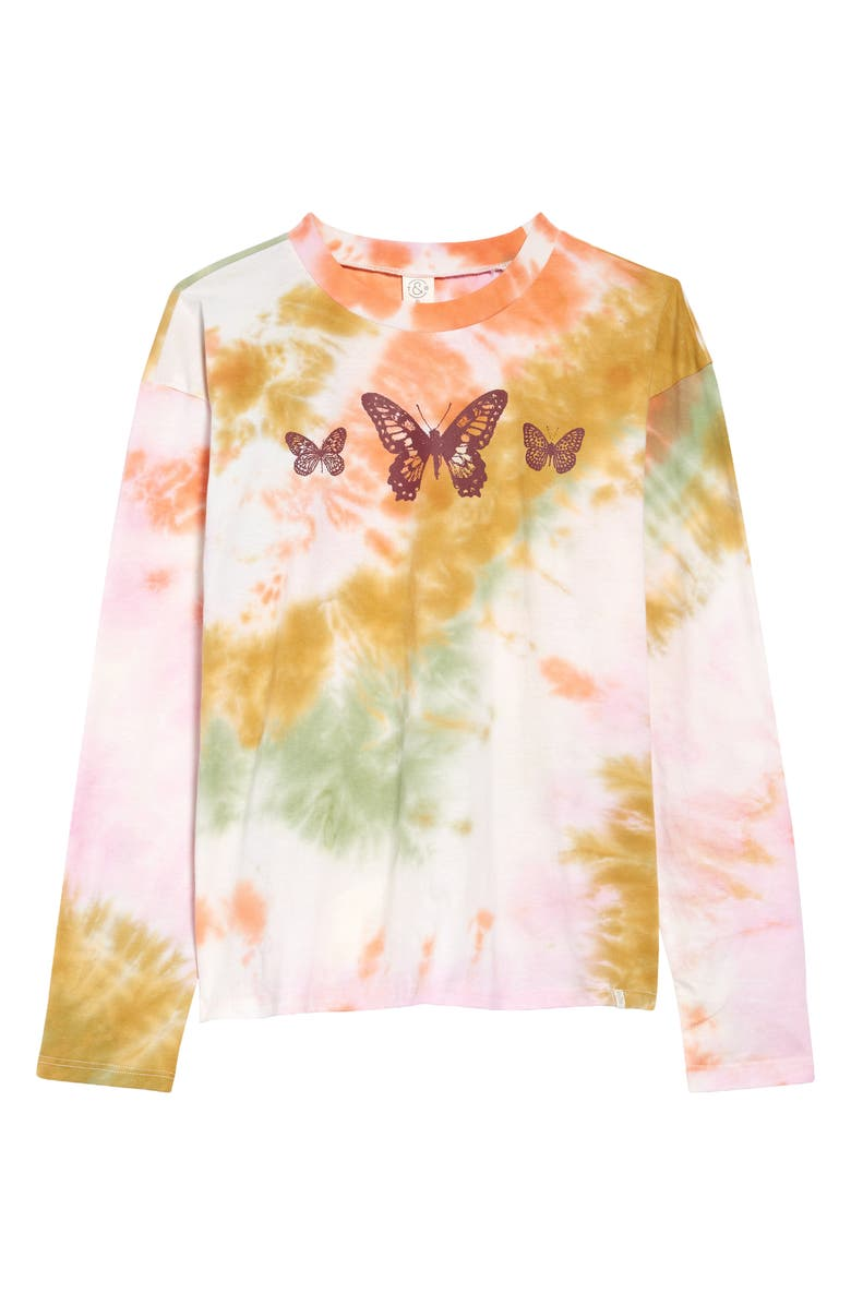 TREASURE & BOND Kids' Oversized Graphic Tee, Main, color, PINK- GREEN BUTTERFLY TIE DYE