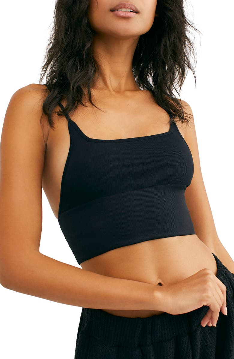 FREE PEOPLE Intimately FP Andi Square Neck Ribbed Seamless Longline Bralette, Main, color, BLACK