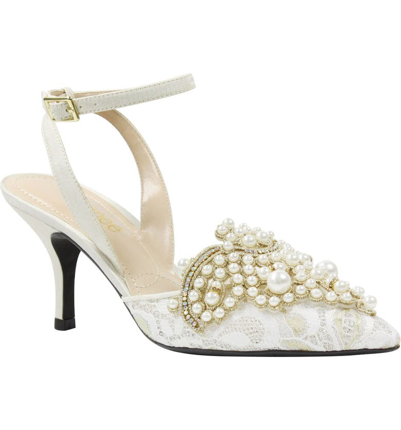 J. RENEÉ Desdemona Embellished Pump, Main, color, IVORY/ WHITE FABRIC
