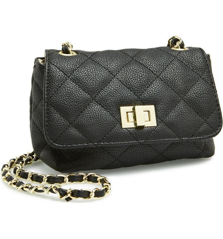 STEVE MADDEN 'Mini Charlee' Quilted Crossbody Bag, Main, color, 001