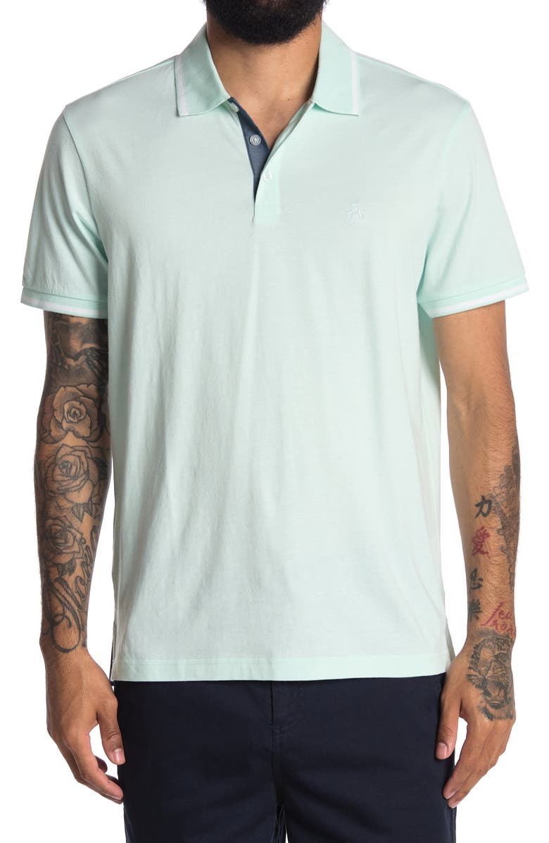 ORIGINAL PENGUIN Knit Jersey Tipped Polo Shirt, Main, color, SOOTHING SEA