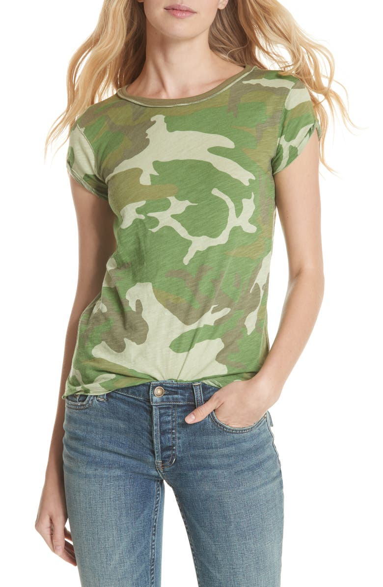 FREE PEOPLE Camo Clare Tee, Main, color, 303