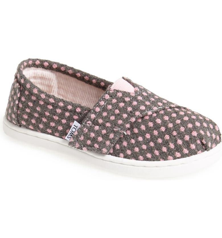 TOMS 'Classic Tiny - Wool Dot' Slip-On, Main, color, GREY WOOL DOT