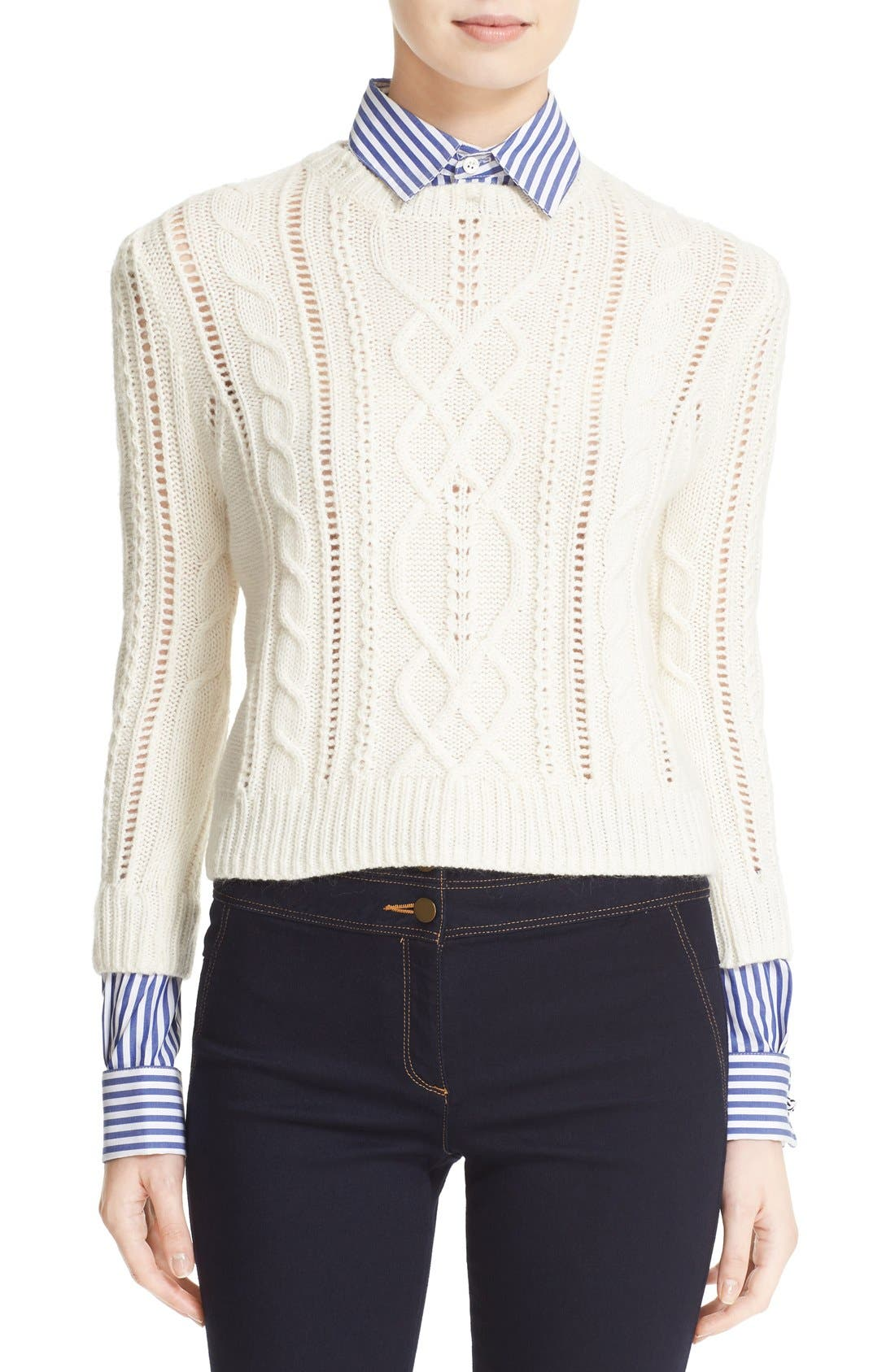 Storybook sweater with removable collar and cuffs