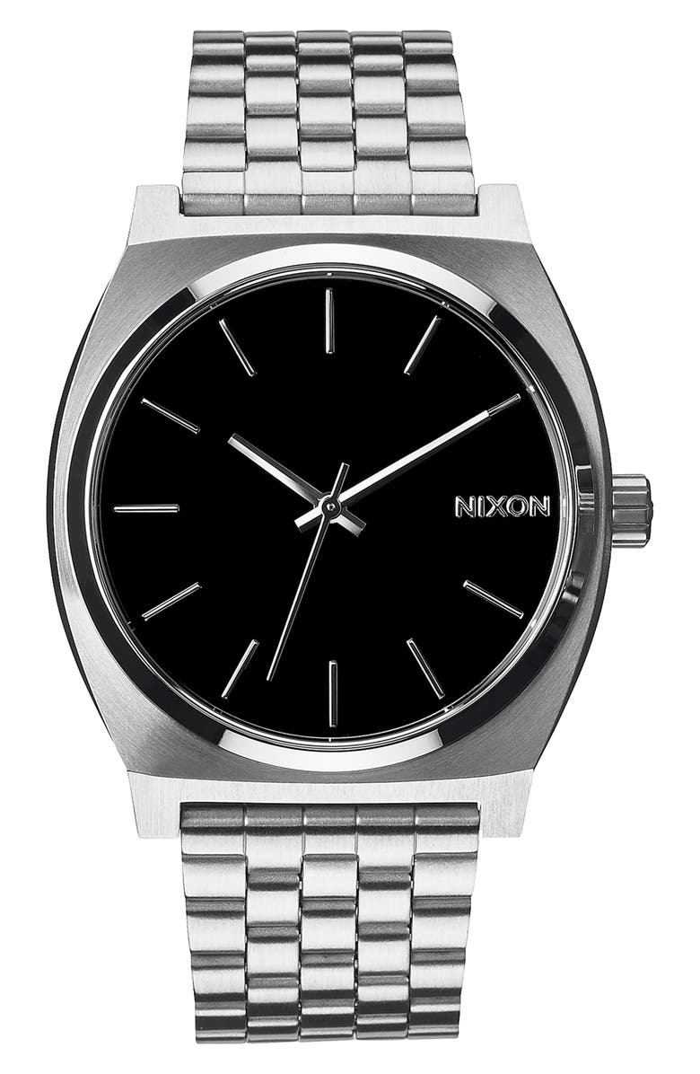 NIXON 'The Time Teller' Stainless Steel Bracelet Watch, 37mm, Main, color, BLACK/ SILVER