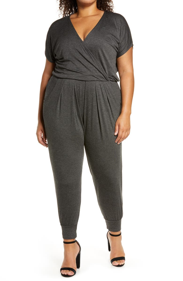LOVEAPPELLA Short Sleeve Wrap Top Jumpsuit, Main, color, CHARCOAL