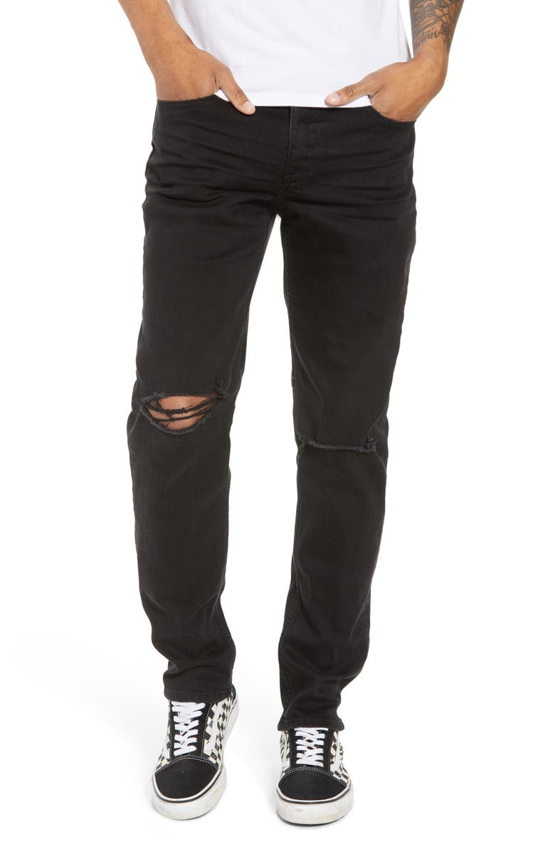 THE RAIL Ripped Skinny Fit Jeans, Main, color, 001