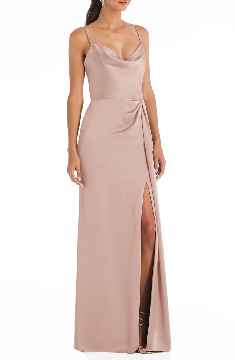 DESSY COLLECTION Cowl Neck Evening Gown, Main, color, TOASTED SUGAR