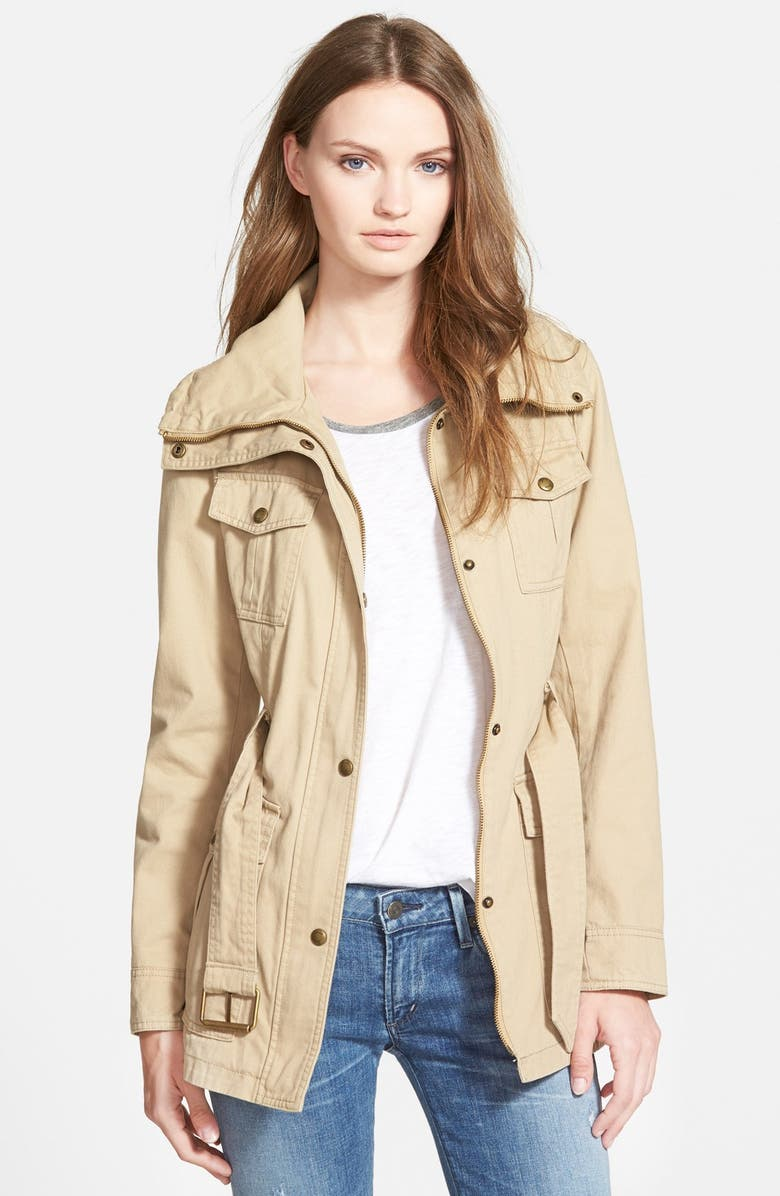 GUESS Belted Utility Jacket, Main, color, SAND