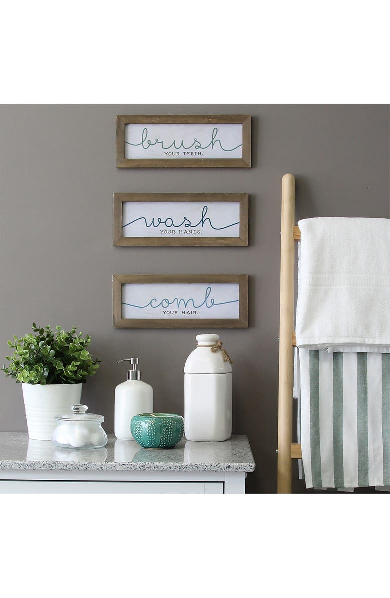 STRATTON HOME DECOR Bathroom Wall Art - Set of 3, Main, color, NATURAL WOOD WHITE  BLUE