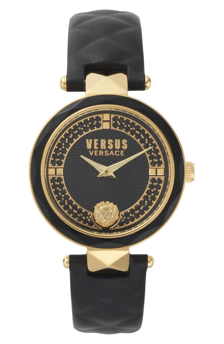 VERSUS VERSACE 36MM COVENT GARDER STRAP WATCH, Main, color, BLACK/ GOLD