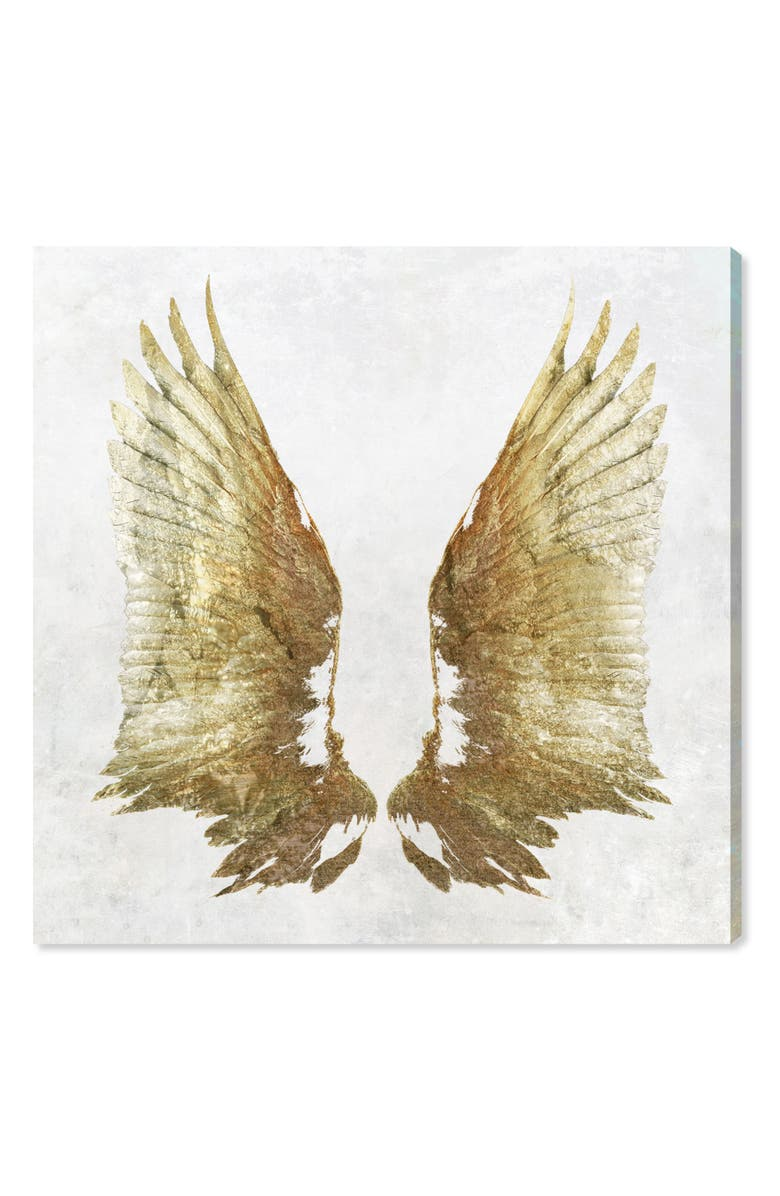 OLIVER GAL Golden Wings Light Canvas Wall Art, Main, color, White