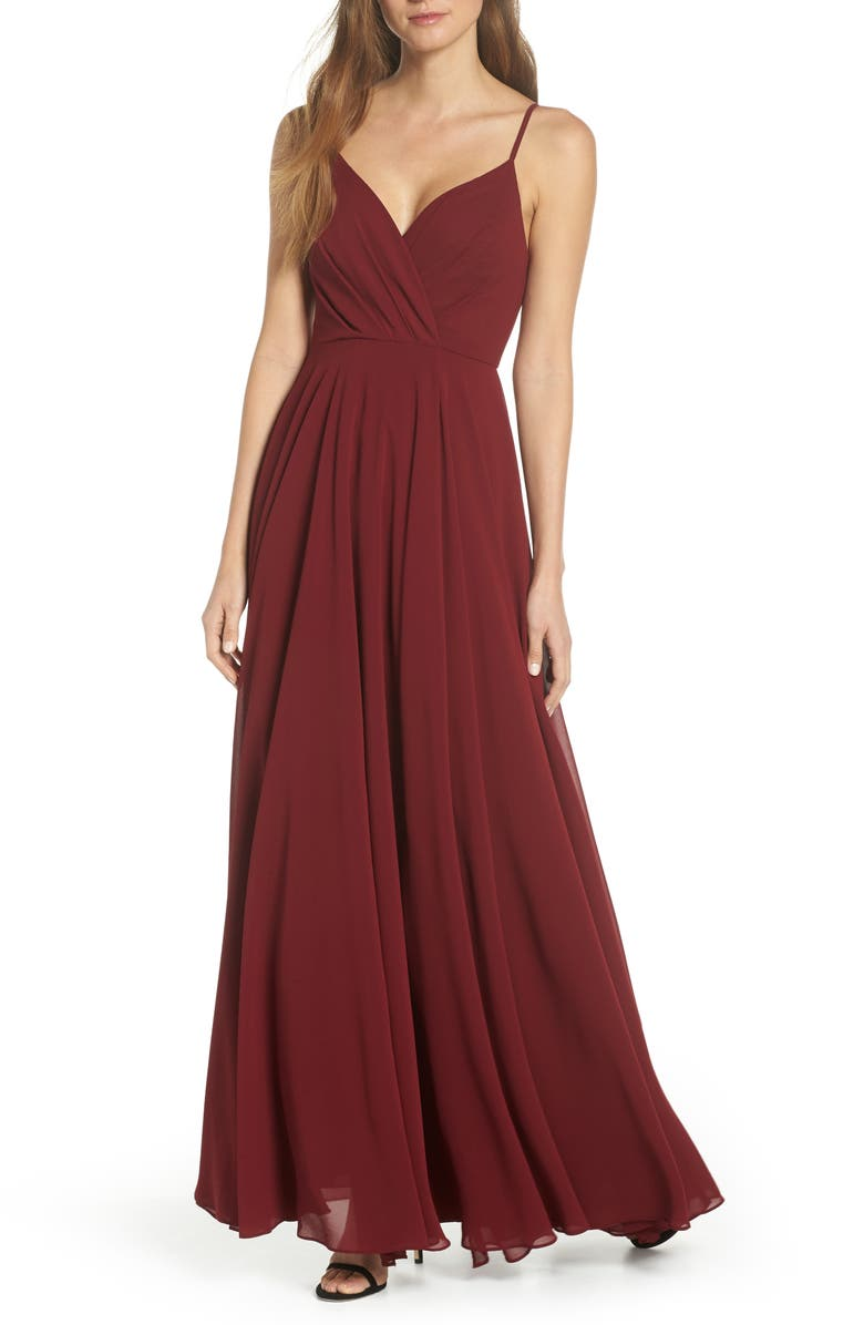 LULUS Surplice Chiffon A-Line Gown, Main, color, 601