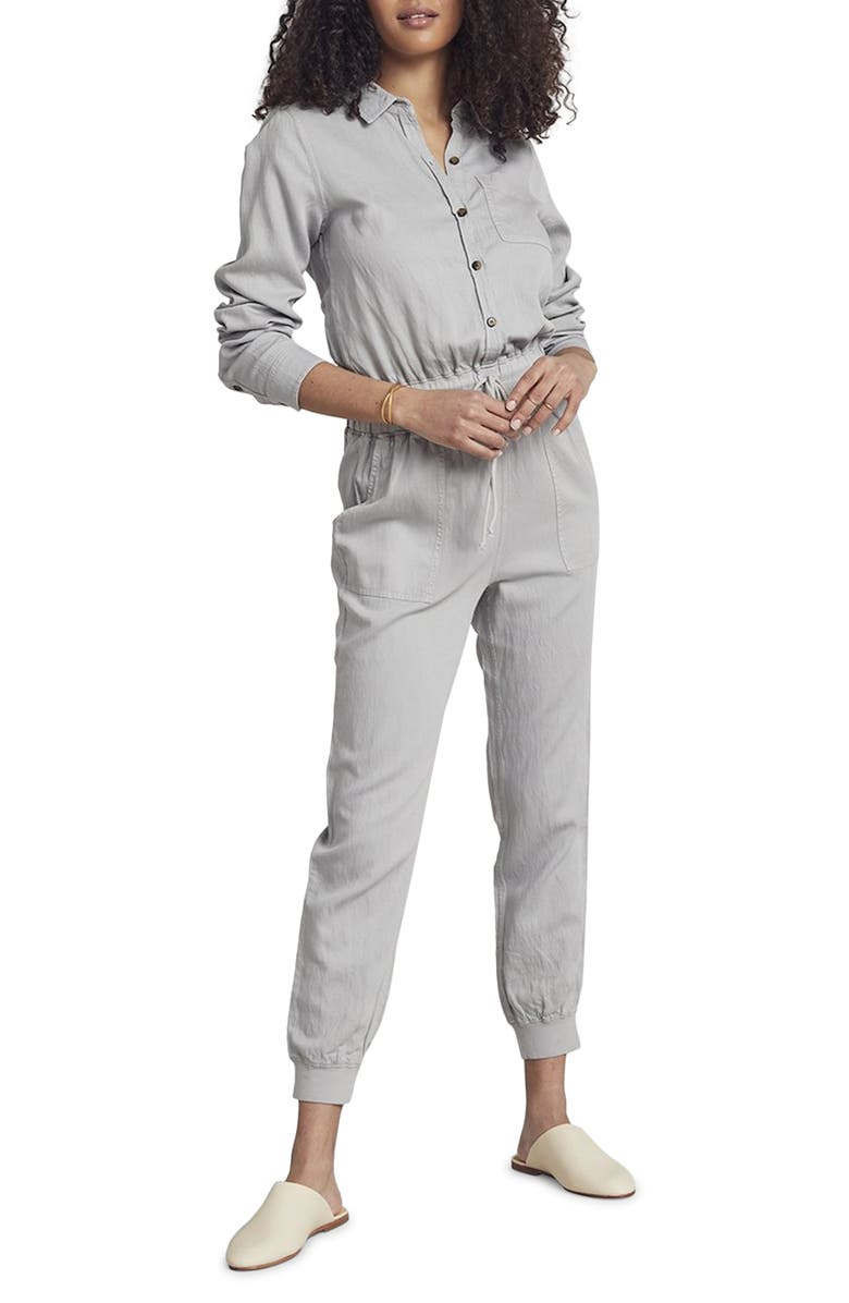 FAHERTY Arlie Day Long Sleeve Jumpsuit, Main, color, STONE