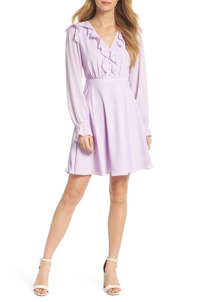 GAL MEETS GLAM COLLECTION Haley Ruffle Georgette Dress, Main, color, LILAC