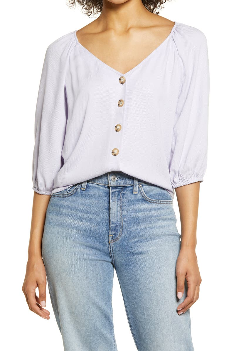 SANCTUARY Modern Front Button Blouse, Main, color, PURPLE HEATHER