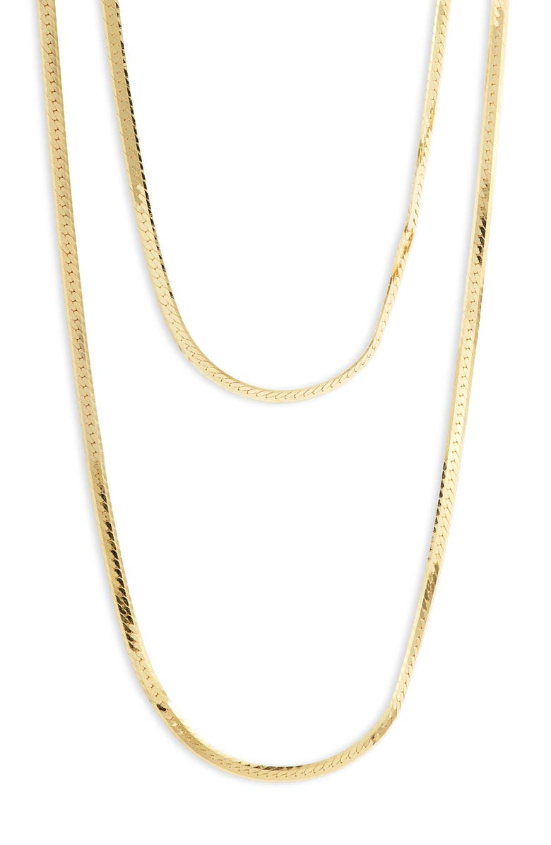 ARGENTO VIVO STERLING SILVER Double Layer Herringbone Chain Necklace, Main, color, Gold