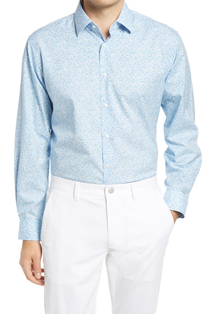 NORDSTROM MENS SHOP Floral Print Stretch Non-Iron Traditional Fit Shirt, Main, color, BLUE PLACID